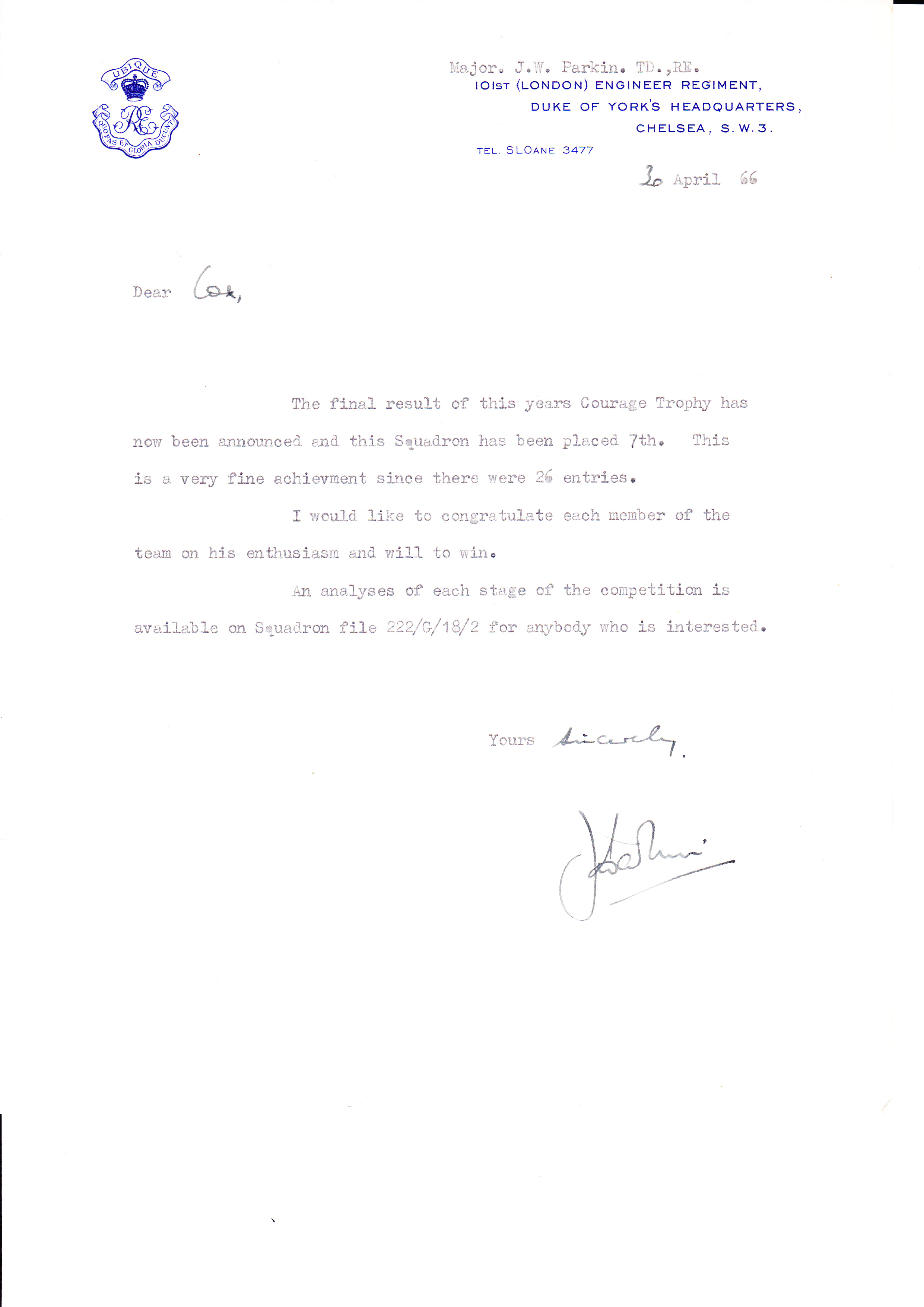 Courage Trophy letter 1967